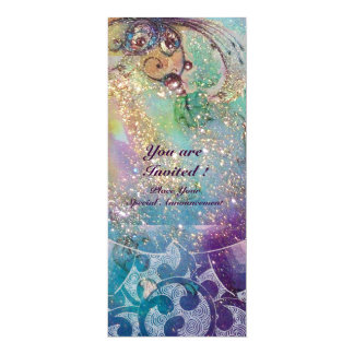 "WAVES , bright violet blue pink gold sparkles 4"" X 9.25"" Invitation Card"