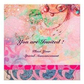 WAVES bright violet blue pink gold sparkles Invite