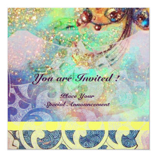 """WAVES , bright yellow blue green pink gold sparkle 5.25"""" Square Invitation Card"""