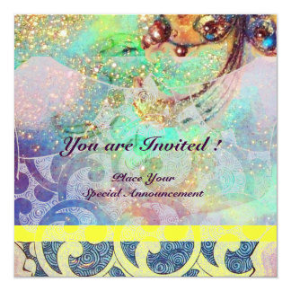 "WAVES , bright yellow blue green pink gold sparkle 5.25"" Square Invitation Card"