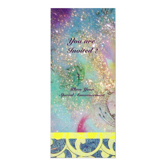 "WAVES , bright yellow blue pink gold sparkles 4"" X 9.25"" Invitation Card"