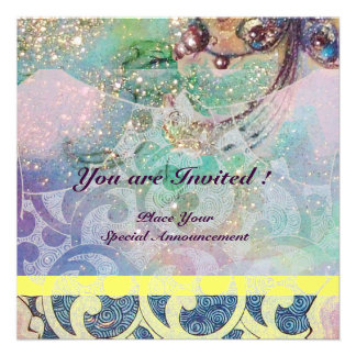 WAVES bright yellow blue pink gold sparkles Personalized Invites