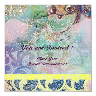"WAVES , bright yellow blue pink gold sparkles 5.25"" Square Invitation Card"
