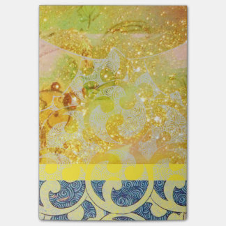 WAVES / Bright Yellow Blue Swirls in Gold Sparkles Post-it® Notes