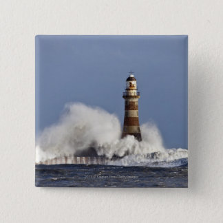 Waves Crashing Against Roker Lighthouse 15 Cm Square Badge