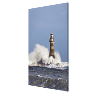 Waves Crashing Against Roker Lighthouse Canvas Print