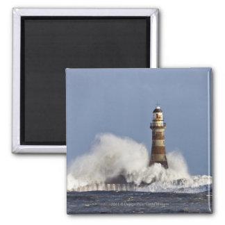 Waves Crashing Against Roker Lighthouse Magnet