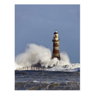Waves Crashing Against Roker Lighthouse Postcard