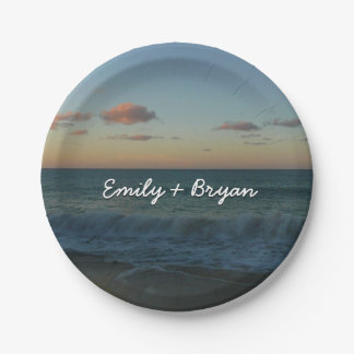 Waves Crashing at Sunset Beach Landscape Paper Plate