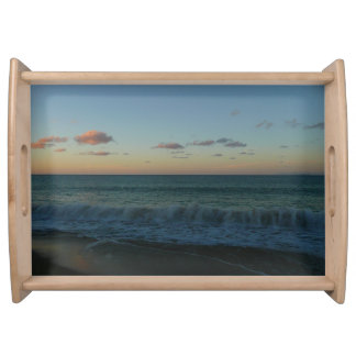 Waves Crashing at Sunset Beach Landscape Serving Tray