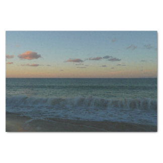 Waves Crashing at Sunset Beach Landscape Tissue Paper