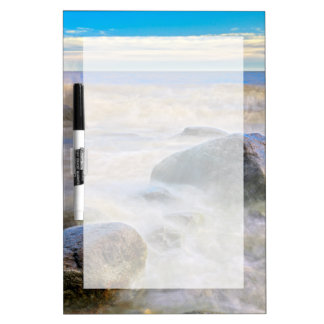 Waves crashing on shoreline rocks dry erase board