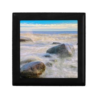 Waves crashing on shoreline rocks gift box