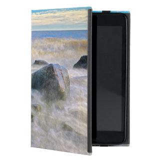 Waves crashing on shoreline rocks iPad mini cover