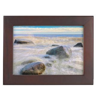 Waves crashing on shoreline rocks keepsake box