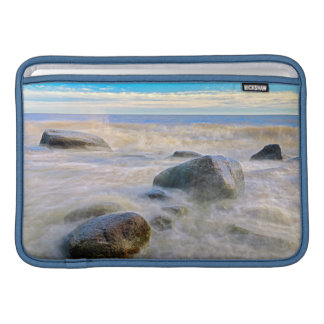 Waves crashing on shoreline rocks MacBook air sleeve