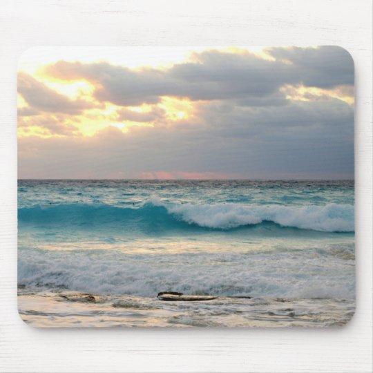waves crashing on the shore mouse mat