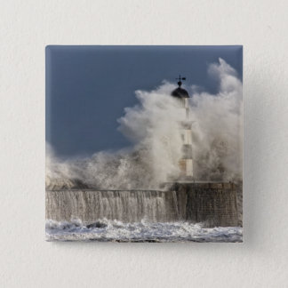 Waves Crashing Up Against A Lighthouse 15 Cm Square Badge