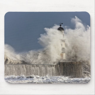 Waves Crashing Up Against A Lighthouse Mouse Mat