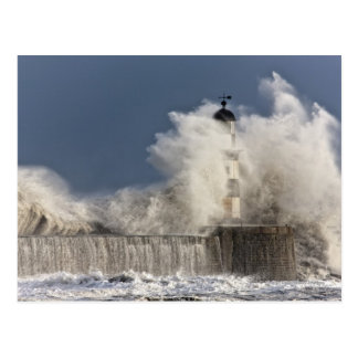 Waves Crashing Up Against A Lighthouse Postcard