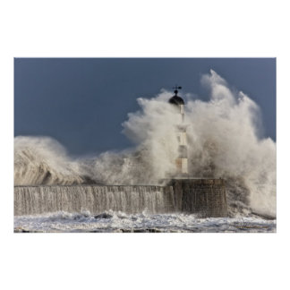 Waves Crashing Up Against A Lighthouse Poster