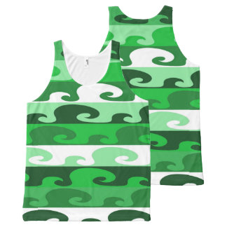 Waves (green) All-Over print tank top