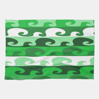 Waves (green) tea towel