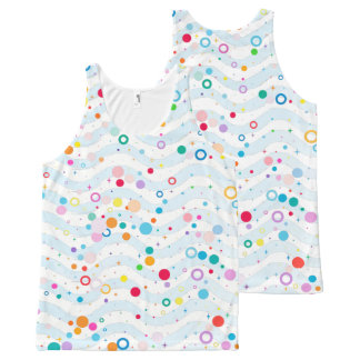 Waves -happy dots- Custom Your Color- All-Over Print Tank Top