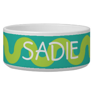 Waves in Green on Blue Personalized