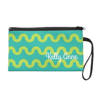 Waves in Green on Blue Personalized Wristlet Purse