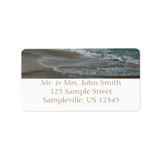 Waves Lapping on the Beach Turquoise Blue Ocean Label