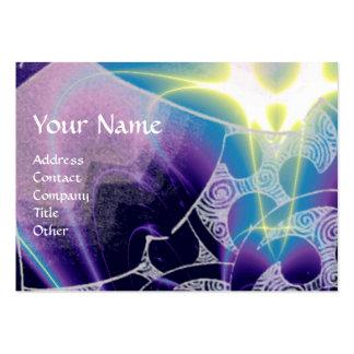 WAVES MONOGRAM, bright light purple blue Business Card Template
