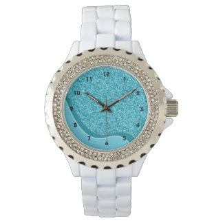 Waves of Blue Glitter Wristwatches