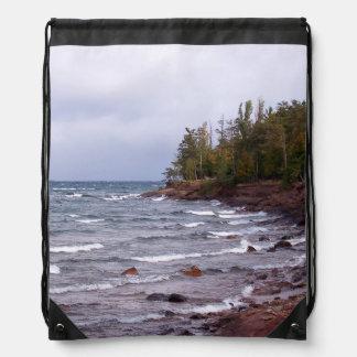 Waves of Lake Superior Drawstring Backpacks