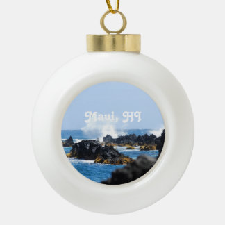 Waves on Maui Coast Ceramic Ball Christmas Ornament