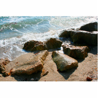 waves on rocks on beach shore image acrylic cut out