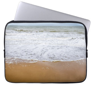 Waves on the beach laptop sleeve