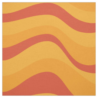 Waves Pattern In Yellow Orange Autumn Colors Fabric