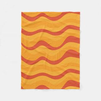 Waves Pattern In Yellow Orange Autumn Colors Fleece Blanket