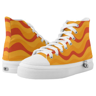 Waves Pattern In Yellow Orange Autumn Colors High Tops
