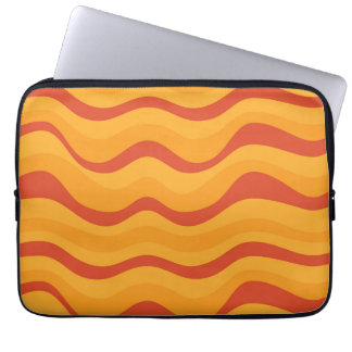 Waves Pattern In Yellow Orange Autumn Colors Laptop Sleeve