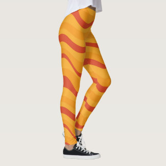 Waves Pattern In Yellow Orange Autumn Colors Leggings