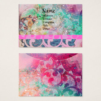 WAVES,Pink Blue Green Gold Sparkles,Floral Swirls Business Card