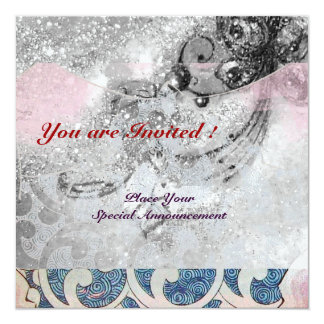 "WAVES RUBY, bright black & white blue pink sparkle 5.25"" Square Invitation Card"