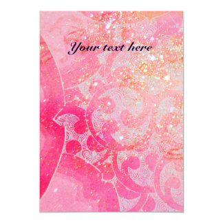 WAVES RUBY, bright red  blue pink gold sparkles 13 Cm X 18 Cm Invitation Card