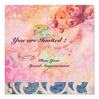 WAVES RUBY, bright red  blue pink gold sparkles 5.25x5.25 Square Paper Invitation Card