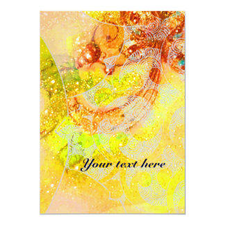 WAVES RUBY, bright red brown yellow blue pink 13 Cm X 18 Cm Invitation Card