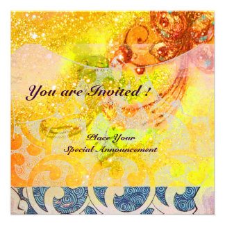 WAVES RUBY bright red brown yellow blue pink Custom Invitations