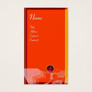 WAVES RUBY MONOGRAM,pink red yellow orange white Business Card