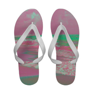 waves solarized magenta green beach abstract Flip-Flops